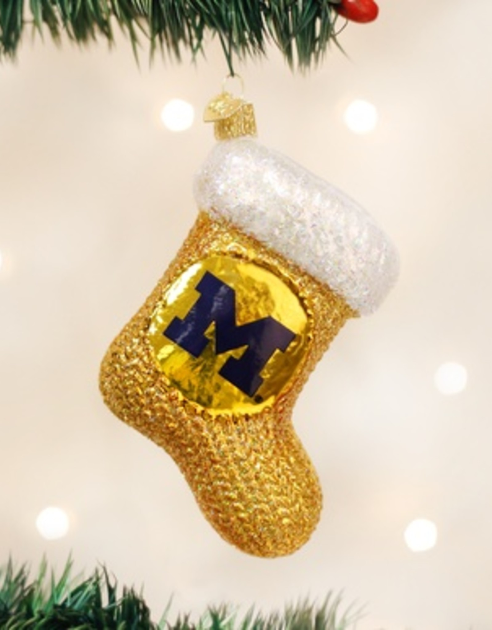 OLD WORLD CHRISTMAS Michigan Wolverines Stocking Ornament