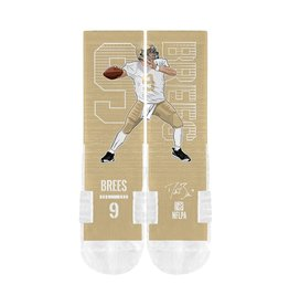 STRIDELINE New Orleans Saints Drew Brees Strideline Player Performance Crew Socks