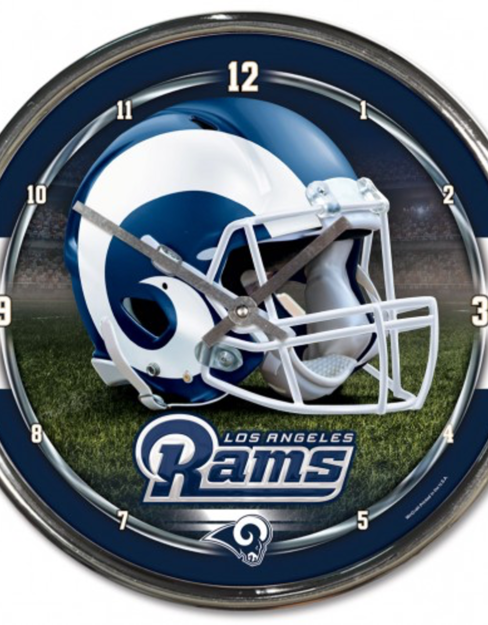 WINCRAFT Los Angeles Rams Round Chrome Wall Clock