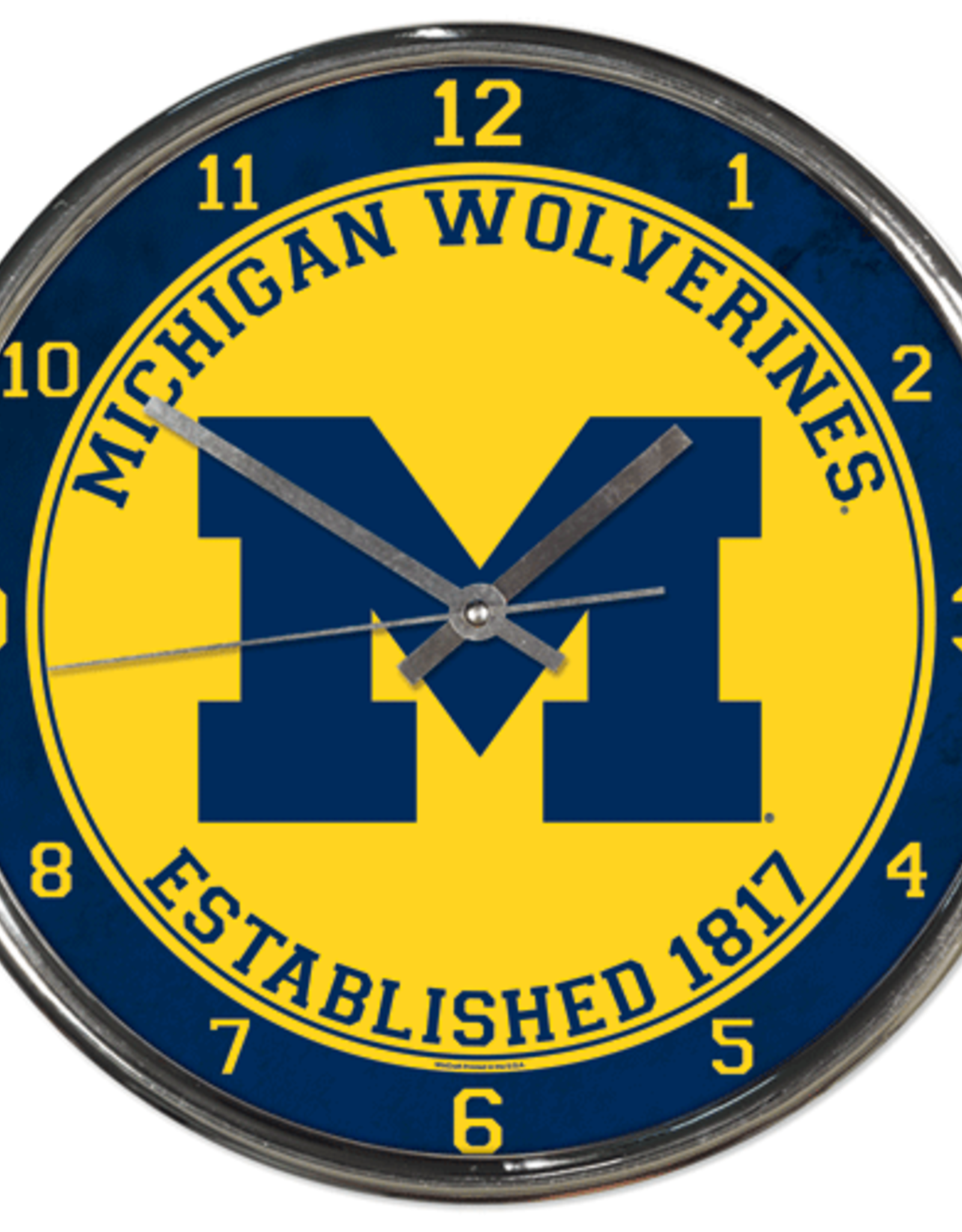 WINCRAFT Michigan Wolverines Round Chrome Wall Clock