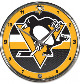 WINCRAFT Pittsburgh Penguins Round Chrome Wall Clock