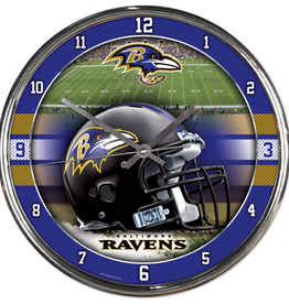 WINCRAFT Baltimore Ravens Round Chrome Wall Clock