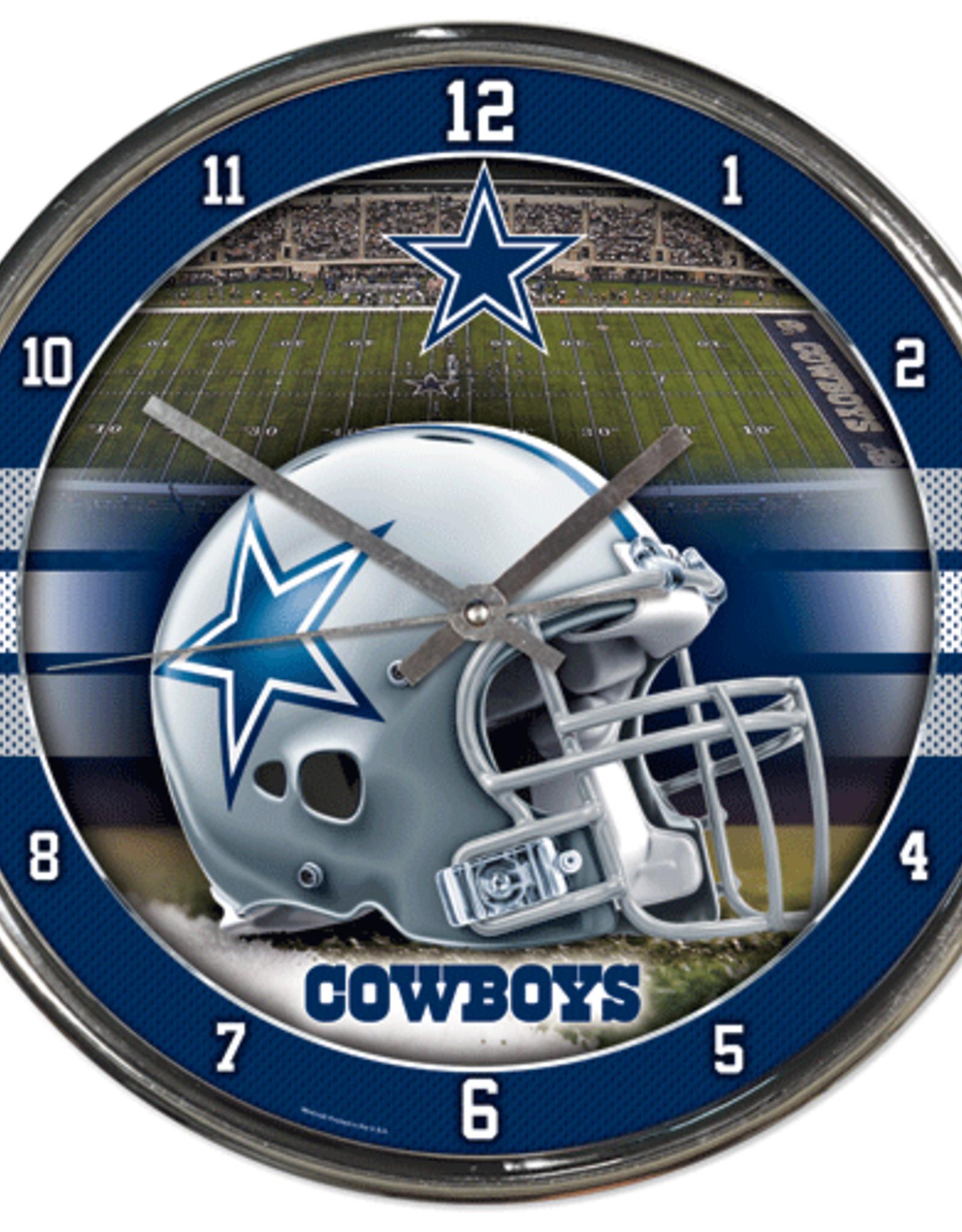 WINCRAFT Dallas Cowboys Round Chrome Wall Clock