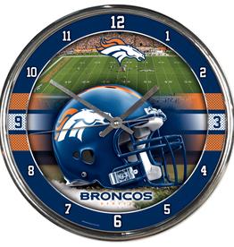 WINCRAFT Denver Broncos Round Chrome Wall Clock