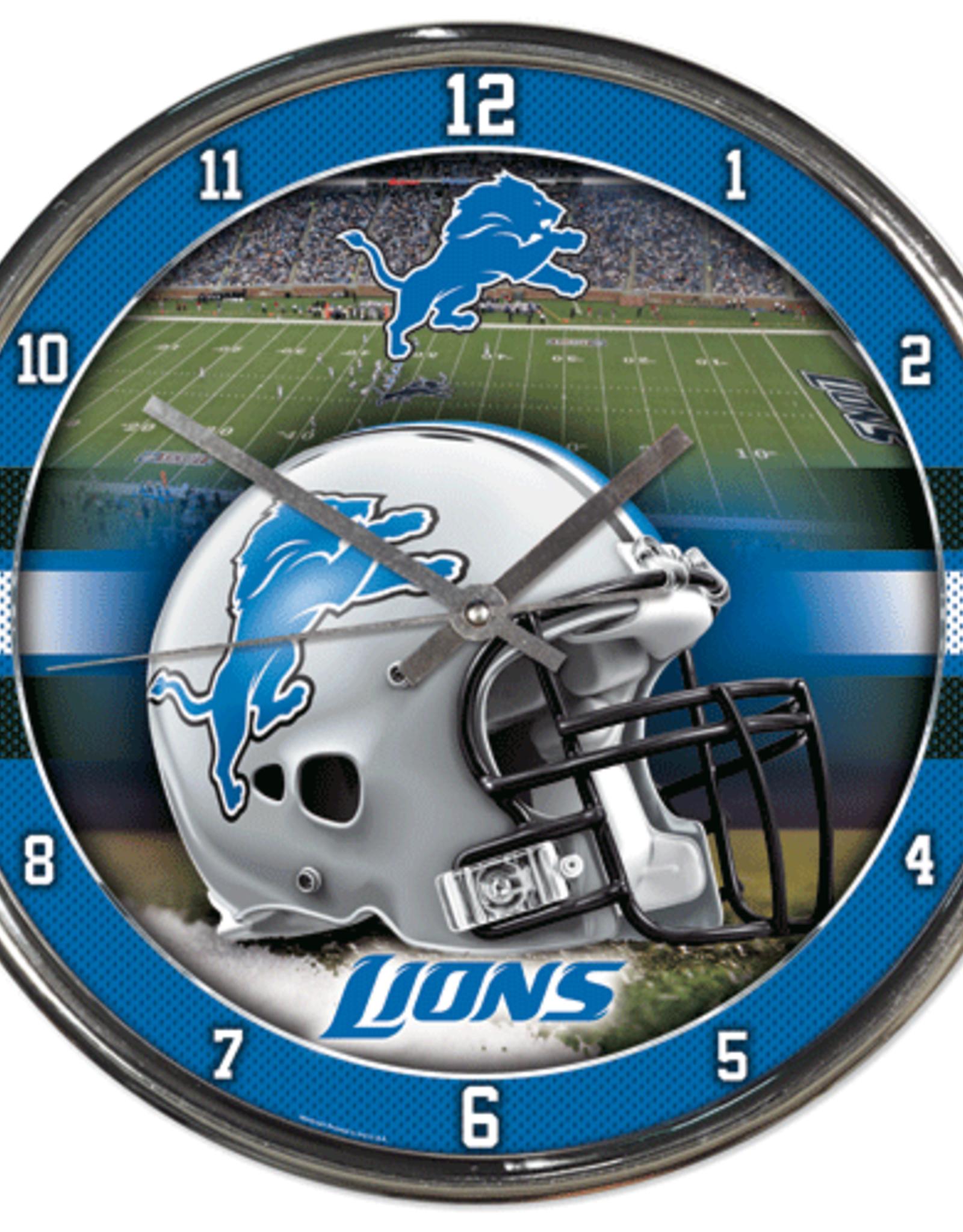 WINCRAFT Detriot Lions Round Chrome Wall Clock