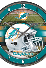 WINCRAFT Miami Dolphins Round Chrome Wall Clock