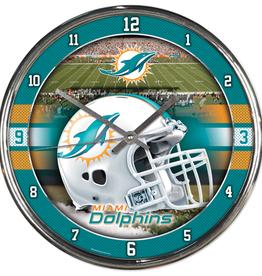 WINCRAFT Miami Dolphins Round Chrome Wall Clock