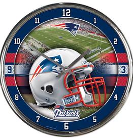 WINCRAFT New England Patriots Round Chrome Wall Clock