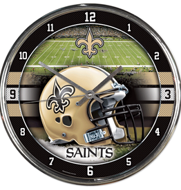 WINCRAFT New Orleans Saints Round Chrome Wall Clock