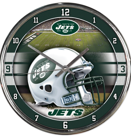 WINCRAFT New York Jets Round Chrome Wall Clock