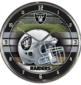 WINCRAFT Las Vegas Raiders Round Chrome Wall Clock
