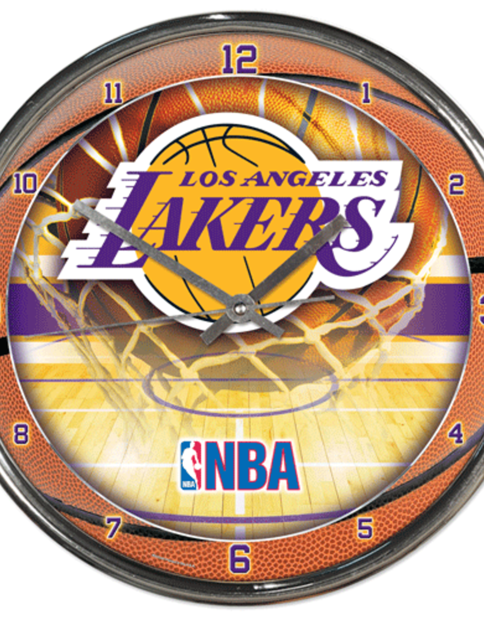 WINCRAFT Los Angeles Lakers Round Chrome Wall Clock