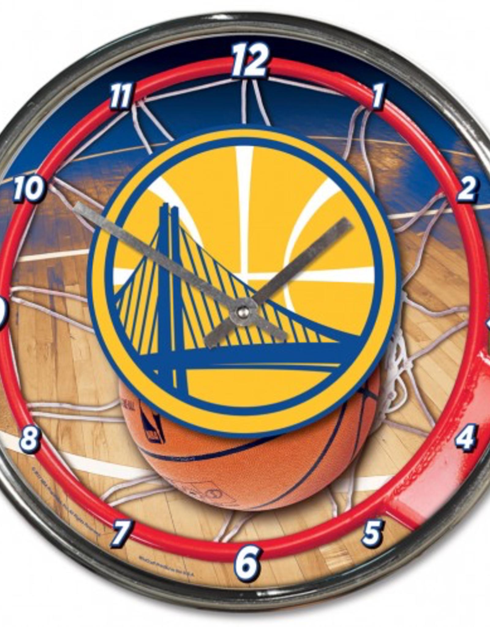 WINCRAFT Golden State Warriors Round Chrome Wall Clock