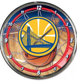 WINCRAFT Golden State Warriors Round Chrome Wall Clock