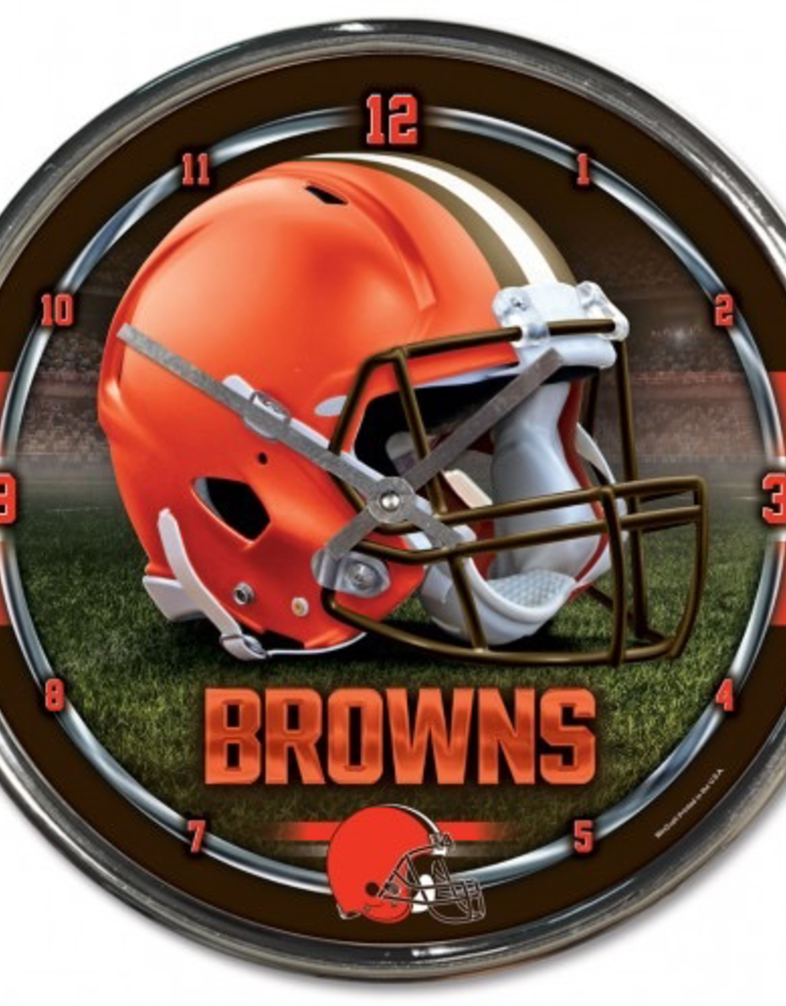 WINCRAFT Cleveland Browns Round Chrome Wall Clock
