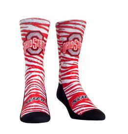ROCK EM Ohio State Buckeyes Rock Em 90's Stripe Crew Socks