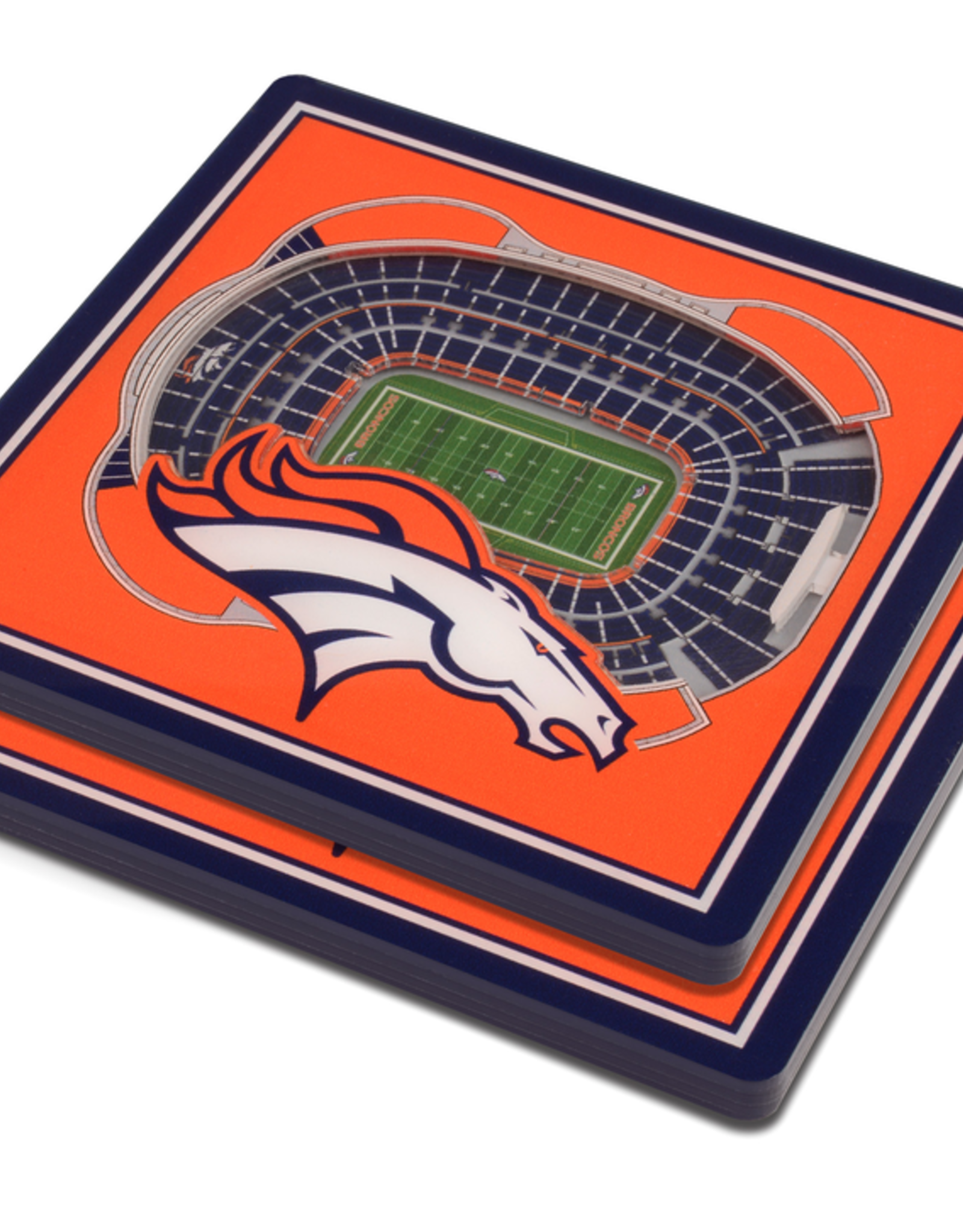YOU THE FAN Denver Broncos 3-D StadiumViews Coasters 2-Pack