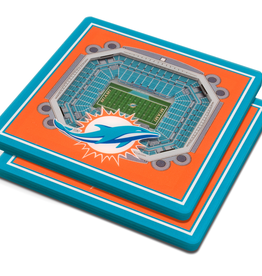 YOU THE FAN Miami Dolphins 3-D StadiumViews Coasters 2-Pack