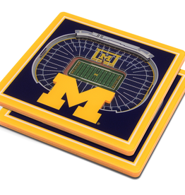 YOU THE FAN Michigan Wolverines 3-D StadiumViews Coasters 2-Pack