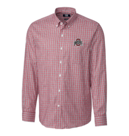 CUTTER & BUCK Ohio State Buckeyes Men's Lakewood Check Button Down Long Sleeve Shirt