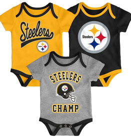 OUTERSTUFF Pittsburgh Steelers Newborn Champ 3-Piece Creeper Set