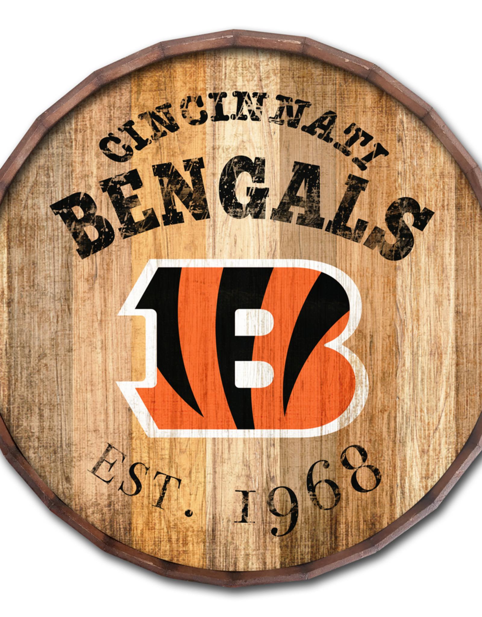 """FAN CREATIONS Cincinnati Bengals 16"""" Cracked Barrel Top -EST"""