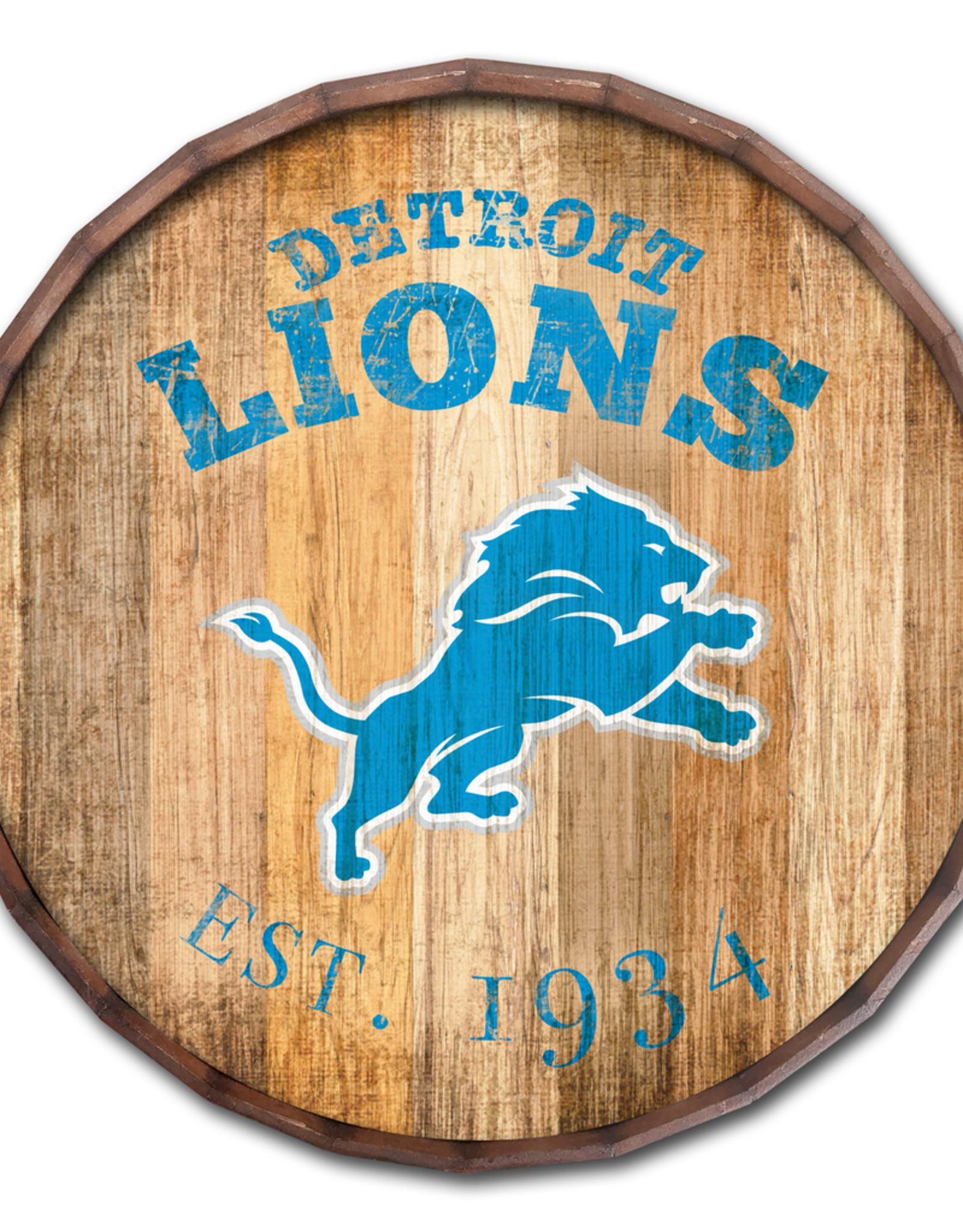 """FAN CREATIONS Detriot Lions 16"""" Cracked Barrel Top -EST"""