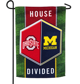 EVERGREEN Ohio State / Michigan Wolverines House Divided Garden Glag