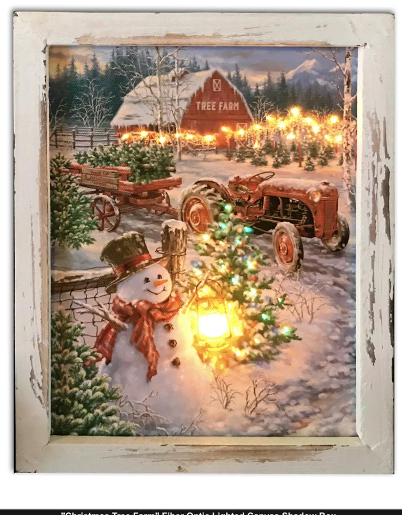 GLOW DÉCOR Christmas Tree Farm 8'x10' Lighted Shadowbox