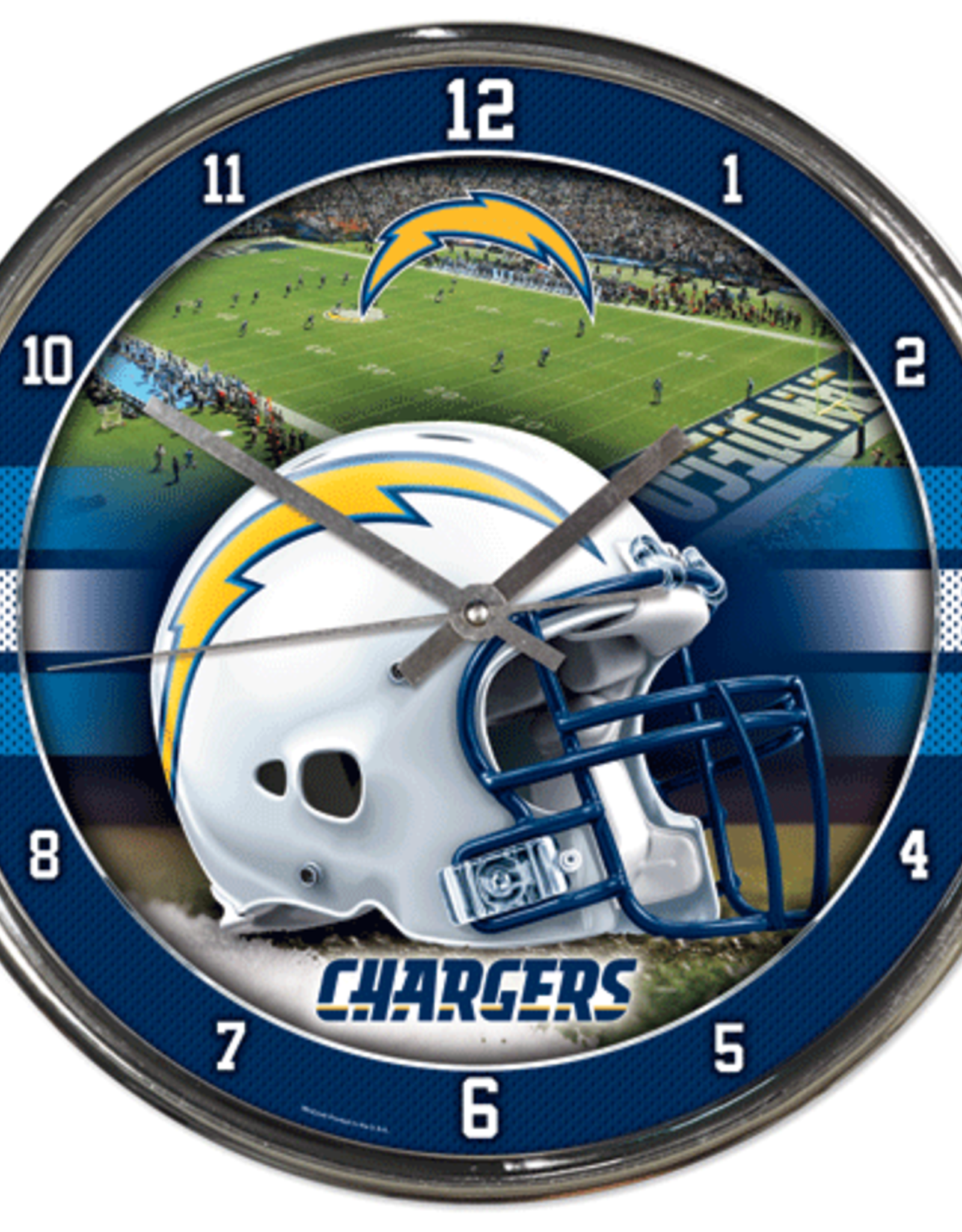 WINCRAFT Los Angeles Chargers Round Chrome Wall Clock
