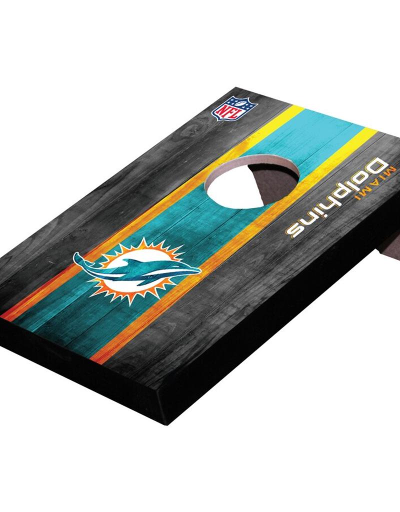 WILD SPORTS Miami Dolphins Mini Tabletop Cornhole Board