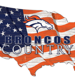 FAN CREATIONS Denver Broncos Team Flag Country Sign