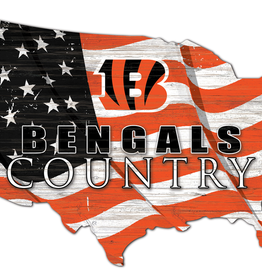 FAN CREATIONS Cincinnati Bengals Team Flag Country Sign