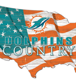 FAN CREATIONS Miami Dolphins Team Flag Country Sign