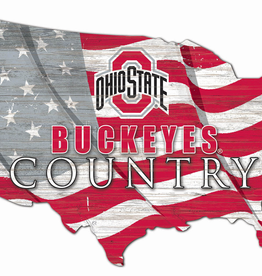 FAN CREATIONS Ohio State Buckeyes Team Flag Country Sign