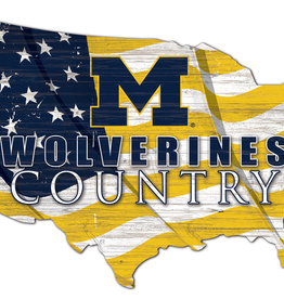 FAN CREATIONS University of Michigan Wolverines Team Flag Country Sign