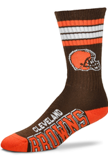 FOR BARE FEET Cleveland Browns 4-Stripe Deuce Crew Socks
