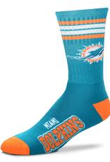 FOR BARE FEET Miami Dolphins 4-Stripe Deuce Crew Socks