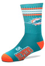 FOR BARE FEET Miami Dolphins Youth Stripe Deuce Socks
