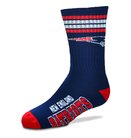 FOR BARE FEET New England Patriots Youth Stripe Deuce Socks