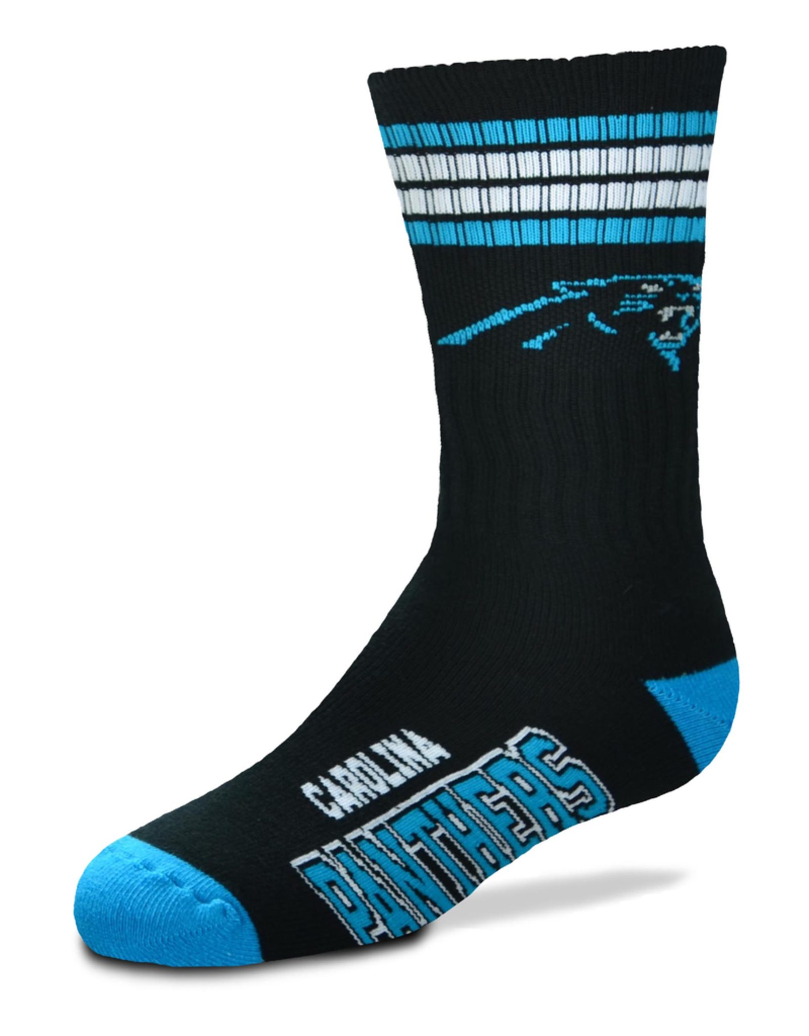 FOR BARE FEET Carolina Panthers Youth Stripe Deuce Socks