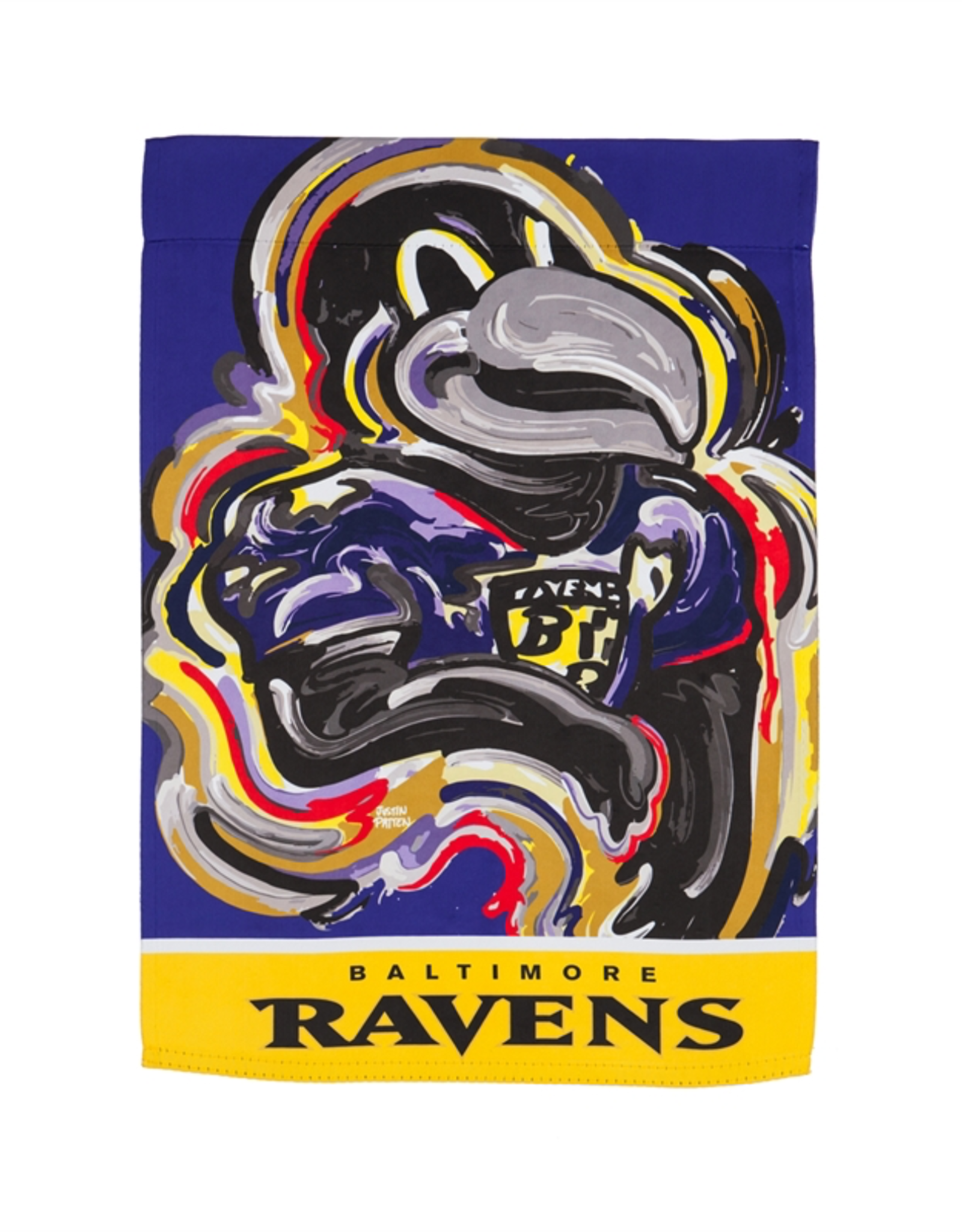 EVERGREEN Baltimore Ravens Justin Pattern Garden Flag