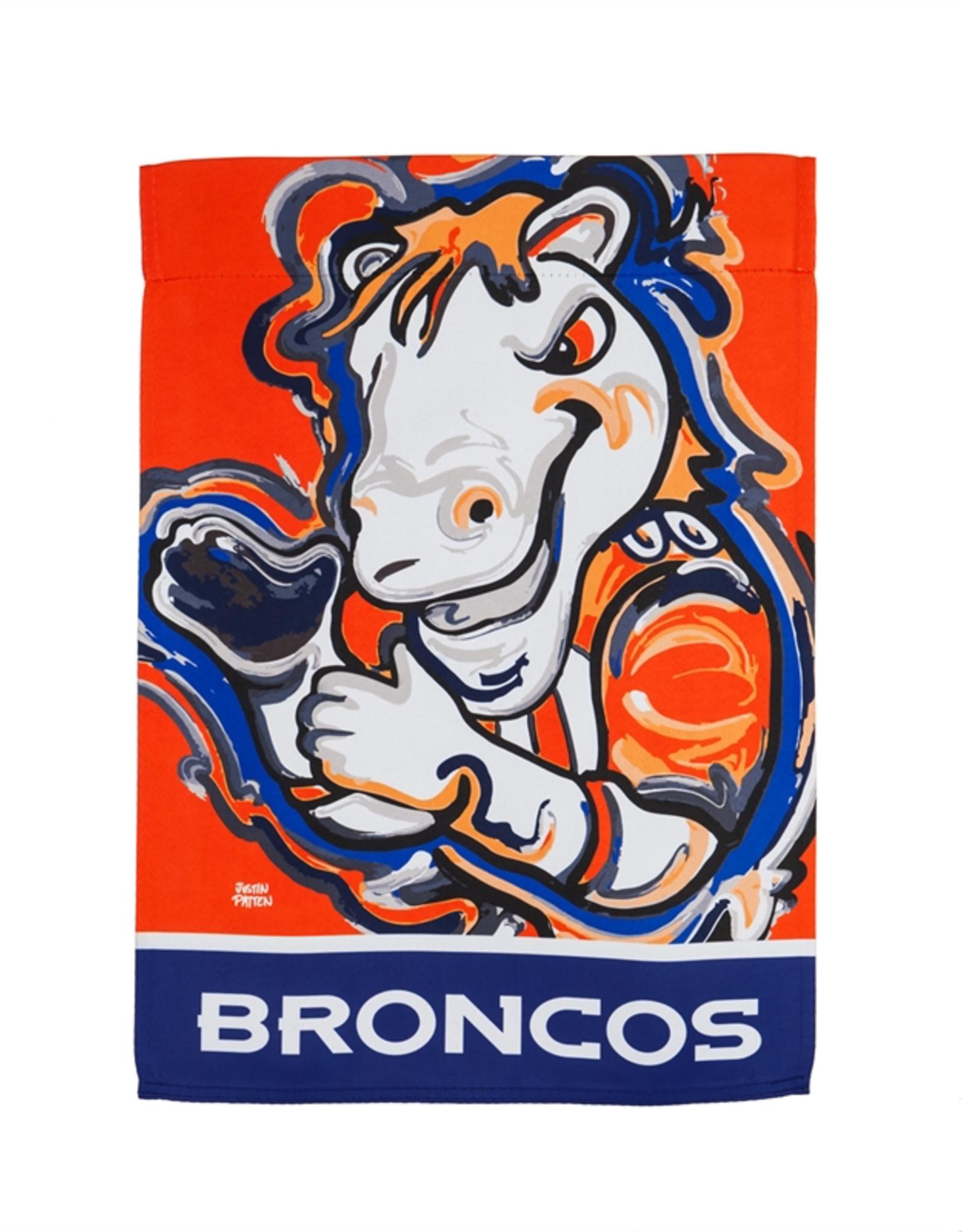 EVERGREEN Denver Broncos Justin Pattern Garden Flag