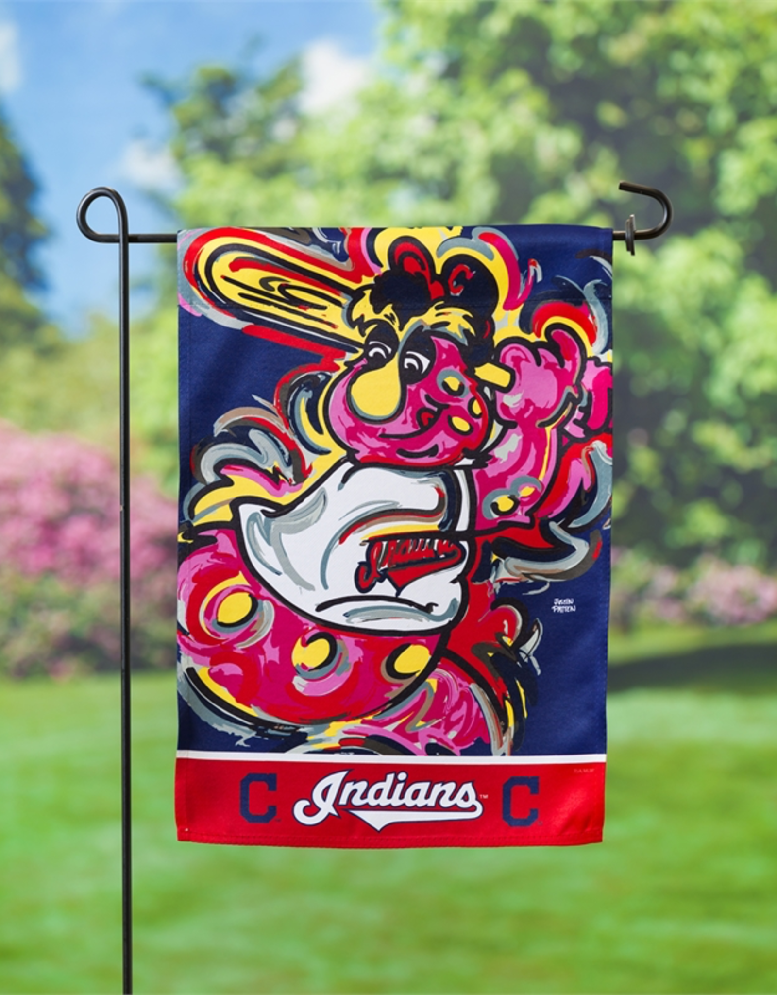 EVERGREEN Cleveland Indians Justin Pattern Garden Flag