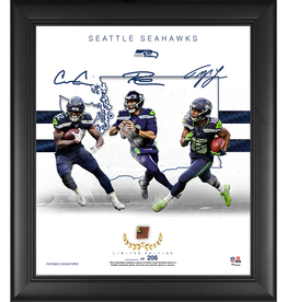 "MOUNTED MEMORIES Seattle Seahawks LIMITED EDITION Framed 15"" x 17"" Franchise Foundations Collage with a Piece of Game Used Football"