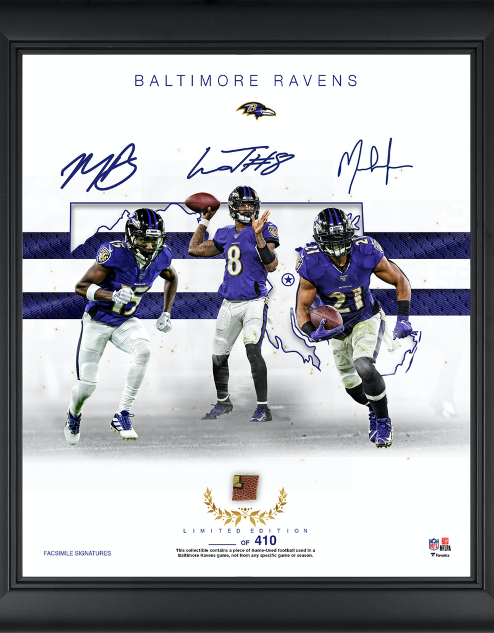 "MOUNTED MEMORIES Baltimore Ravens LIMITED EDITION Framed 15"" x 17"" Franchise Foundations Collage with a Piece of Game Used Football"