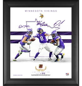 "MOUNTED MEMORIES Minnesota Vikings LIMITED EDITION Framed 15"" x 17"" Franchise Foundations Collage with a Piece of Game Used Football"