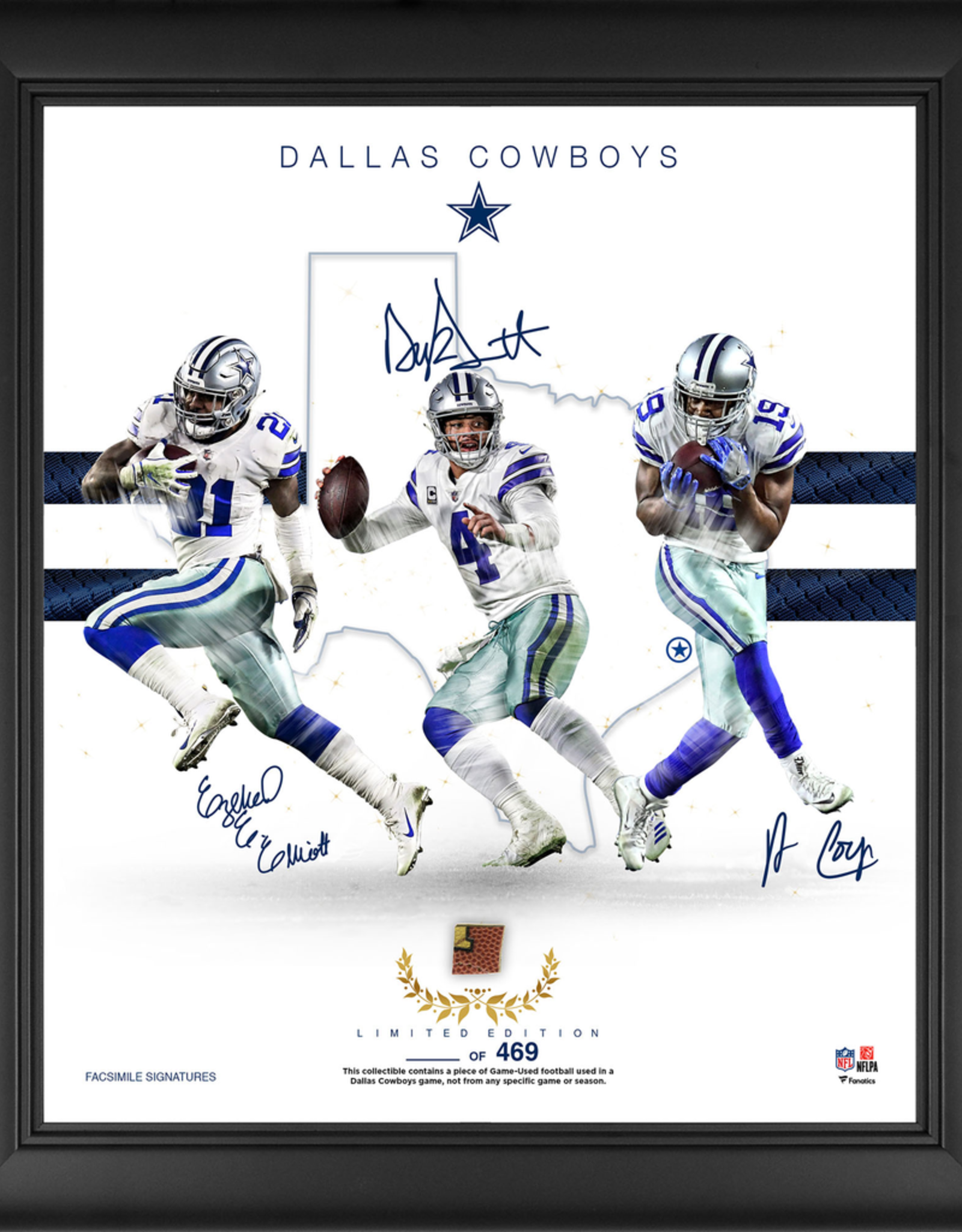 """MOUNTED MEMORIES Dallas Cowboys LIMITED EDITION Framed 15"""" x 17"""" Franchise Foundations Collage with a Piece of Game Used Football"""