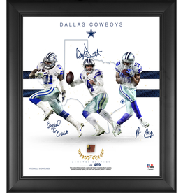 "MOUNTED MEMORIES Dallas Cowboys LIMITED EDITION Framed 15"" x 17"" Franchise Foundations Collage with a Piece of Game Used Football"