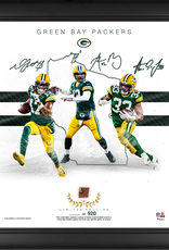 """MOUNTED MEMORIES Green Bay Packers LIMITED EDITION Framed 15"""" x 17"""" Franchise Foundations Collage with a Piece of Game Used Football"""